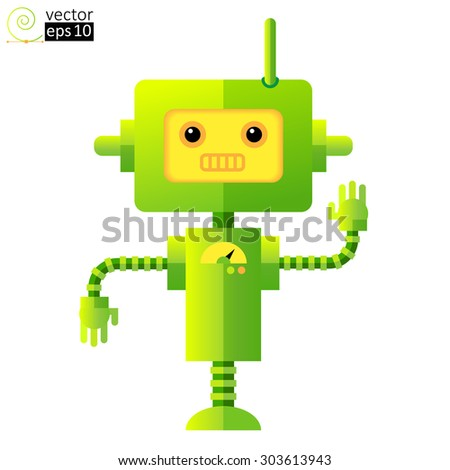 vector green funny cartoon robot