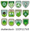 Vector green labels and stickers with ecology signs and symbols - stock vector