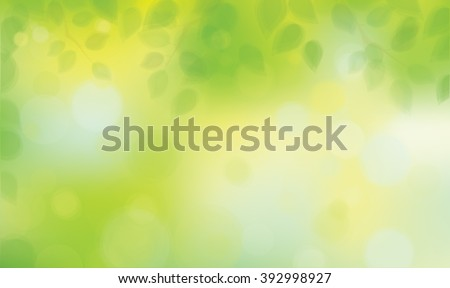 Vector green leaves on sunshine background.