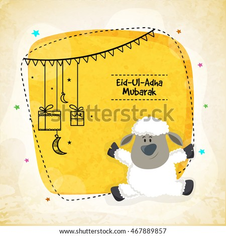 Vector greeting card design with cute Baby Sheep for Muslim Community, Festival of Sacrifice, Eid-Al-Adha Mubarak.