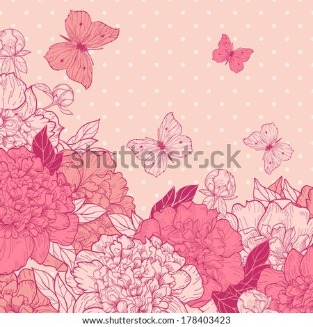 Vector greeting card with peonies and butterflies in vintage style.