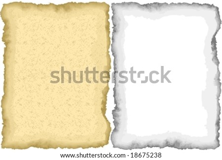 Vector: grunge frames, burnt paper. The yellowed one has an extra layer with thousands of small stains.