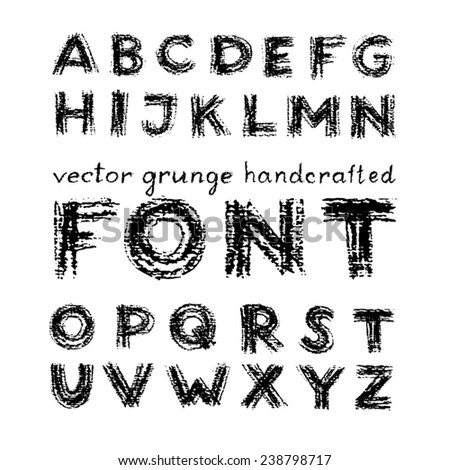 vector grunge handcrafted font drawn with charcoal