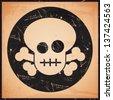 vector grunge skull icon - stock photo