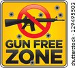 Vector Gun Free Zone assault rifle street and building sign shot full of bullet holes - stock vector