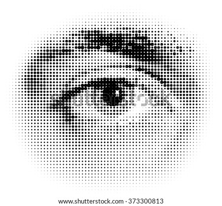 Vector halftone human eye