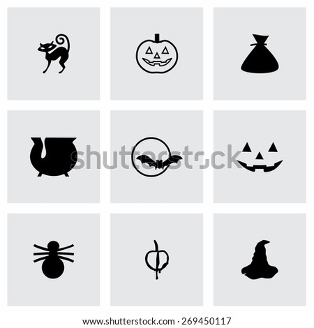 Vector Halloween icon set on grey background