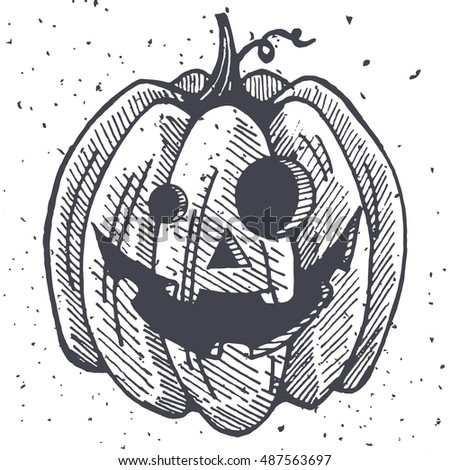 Vector Halloween pumpkins illustration. Handmade graphic