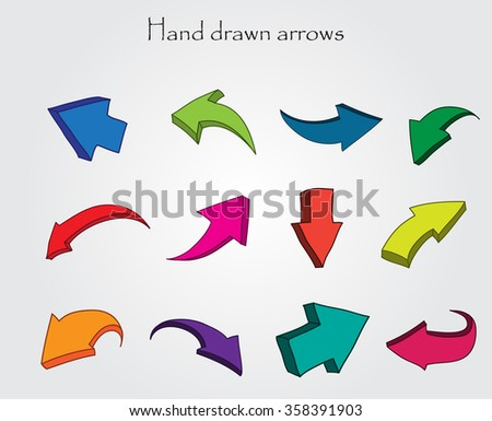 Vector hand drawn arrows.3D arrows set.