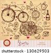 Vector hand drawn card with Paris symbols - stock vector