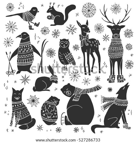 Vector hand drawn cute forest animals collection. Stylish and elegant cartoon animals. Cute and childish hipster christmas animals.