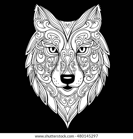 Vector Hand Drawn Doodle Wolf Head Stock Vector 480145285