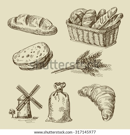 bread doodle hand drawn decorative bread bakery on stock vector 5861