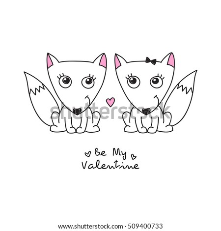 vector hand drawn foxes couple, greeting card for valentines day