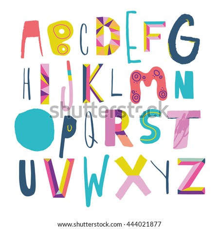 Vector Hand Drawn Funky Artistic and Creative Alphabet. Typeface. Font. Isolated. EPS 10.