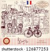 Vector hand drawn illustration with Paris symbols - stock photo