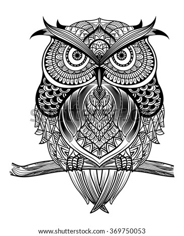 vector hand drawn owl sitting on stock vector 369750053 - shutterstock