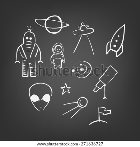 vector hand drawn space elements sketch on a white background