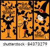 Vector hand drawn style Halloween illustration with cute witch and bats - stock photo