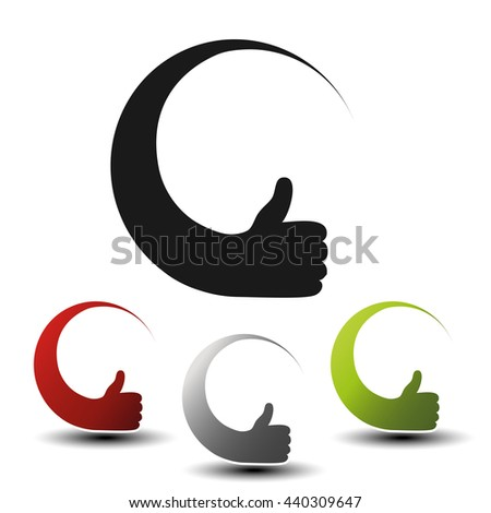 Vector hand gesture icons for advertising text. Black, red, silver and green circular symbols. Buttons or labels of best choice.