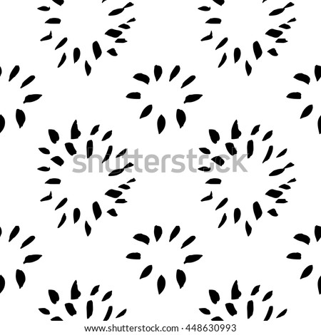 Vector hand-painted seamless pattern with ink brush strokes. Abstract background. Flowers.