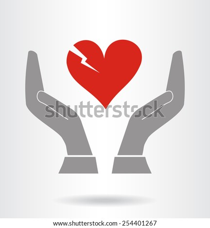 Vector hands and fragile heart symbol