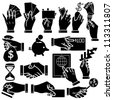 Vector hands, finance & banking silhouettes set - stock vector