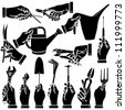 Vector hands & tool silhouettes set - stock vector