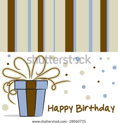 Vector Happy Birthday card layout with stripes and dot pattern
