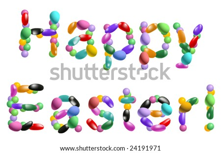 Vector Happy Easter sign made with jelly beans and other candy