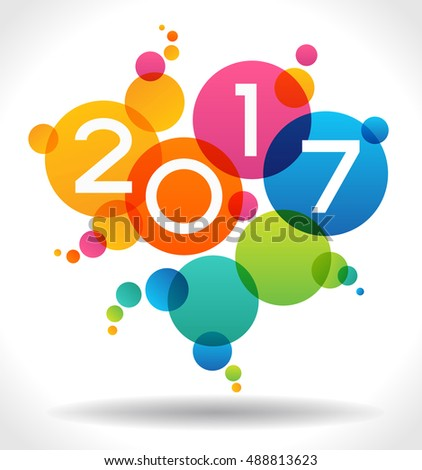 Vector 2017 Happy New Year background.  The file is saved in the version 10 EPS. This image contains transparency.