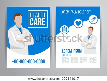 Vector Health Care Brochure Clinic Doctors Stock Vector
