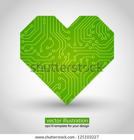 Vector heart. circuit board. Green variant