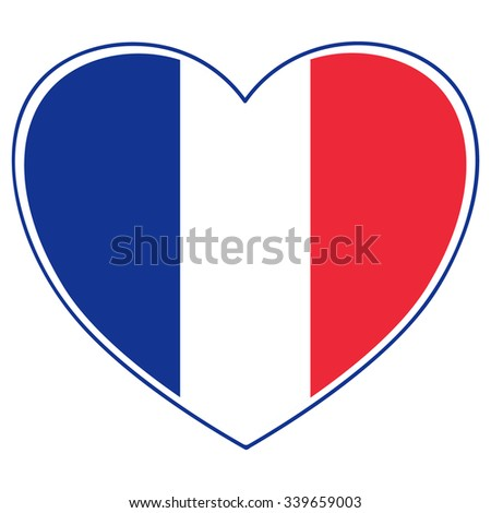 Vector Heart Shape in French Flag Tricolor Illustration - Solidarity with France Concept