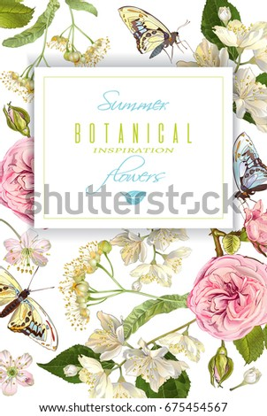 Vector Realistic Illustration Linden Branch Butterfly Stock Vector