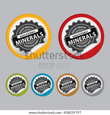 Vector : High Potency Minerals Good Health 100% Natural Infographics Icon on Circle Peeling Sticker