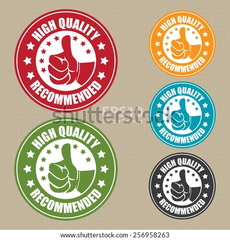 vector : high quality recommended sticker, badge, icon, stamp, label, banner, sign