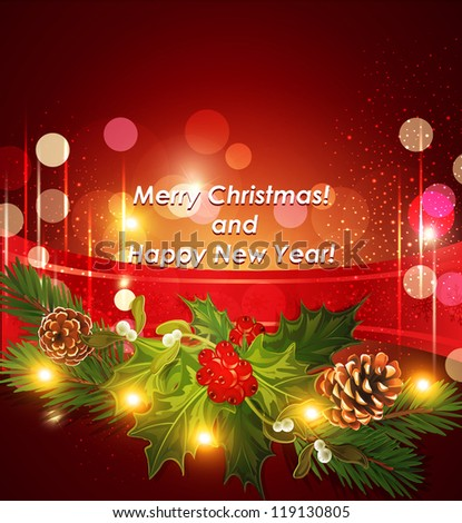 Vector holiday Christmas background with red ribbon and Christmas tree ...
