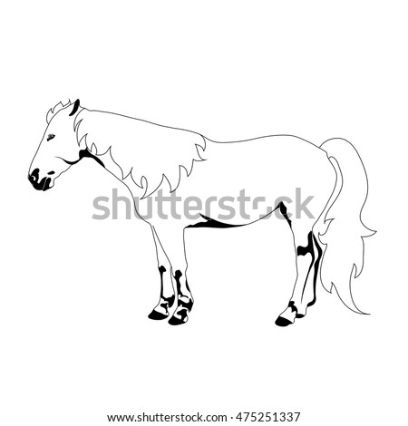 Coloring book pet cow calf hand stock vector 586337810 for Black and white horse coloring pages