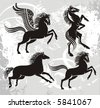 vector horses - stock photo