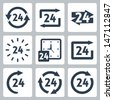 Vector '24 hours' icons set - stock vector
