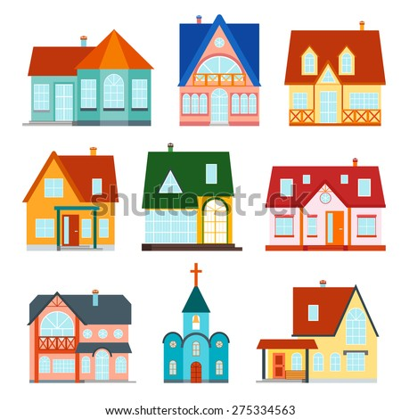 Vector set web icons tents buildings stock vector for Apartment design vector