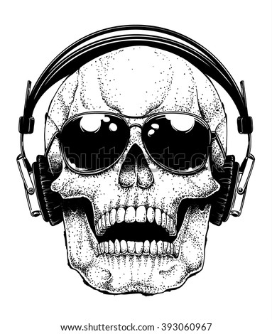 Vector human skull with aviator sunglasses listening to music in headphones. Dotwork hand drawn illustration of a human skull.