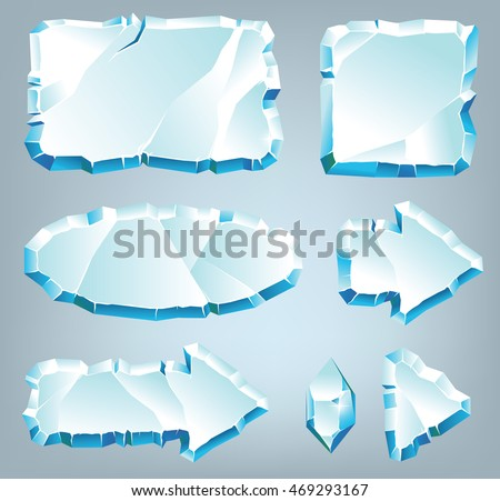 Vector ice design elements for game and web