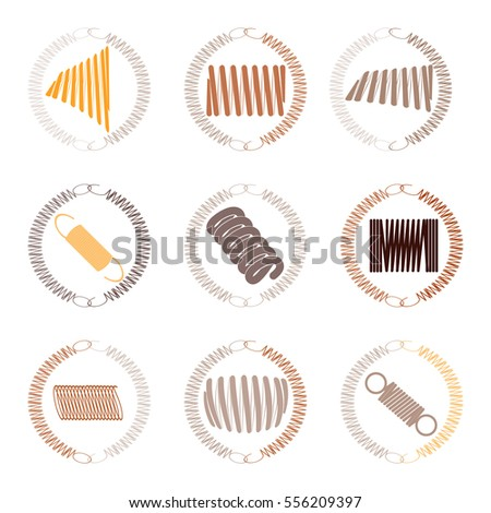 Vector icon set with springs