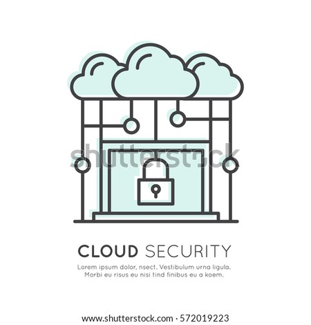 Vector Icon Style Illustration Of Cloud Computing Technology Security Hosting Management Data