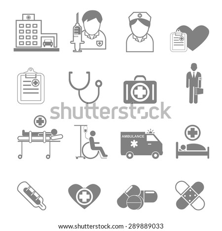 Vector icons and symbols medical care that can be used in the medical treatment.