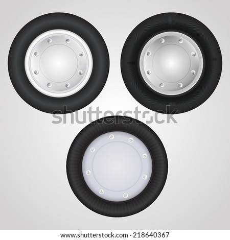 Vector icons for auto parts. Wheel. Set of three wheels for some vehicle or other transportation.