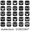 Vector icons of black smiley faces - stock vector