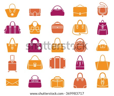 Vector icons of women handbags and luggage-big set
